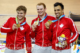 Men's Team Sprint Medal Ceremony, Track Day 1, Toronto 2015 Pan Am Games, Milton Pan Am/Parapan Am Velodrome, Milton, On; Jul...