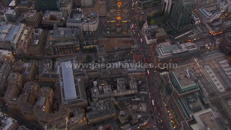 Aerial footage looking straight down over the City, London