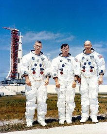13 May 1969 - Prime crew of Apollo 10 sits for photo while at Kennedy Space Center for preflight training. L to R are astrona...
