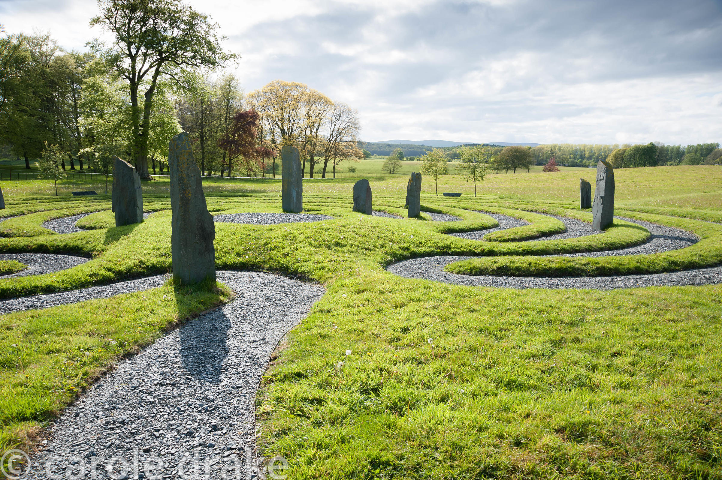 Labyrinth inspired by a Hindi temple design, with standing slate stones. Holker Hall, Grange over Sands, Cumbria, UK