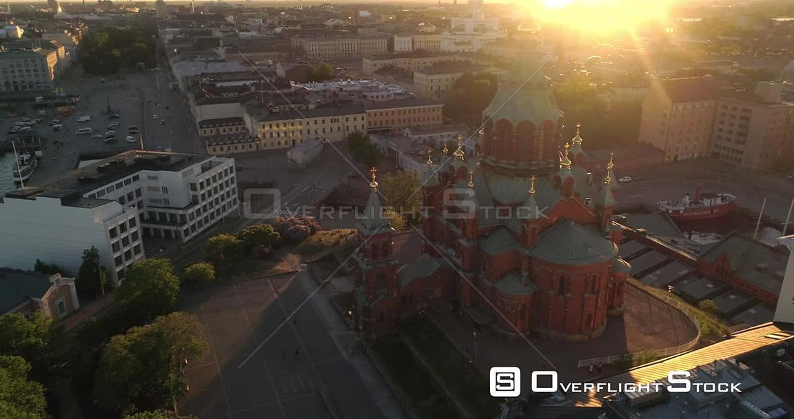 Helsinki City, Aerial View Around Uspetski Cathedral and Its Golden Cupole, in the City, on a Sunny Summer Evening Dusk, in H...