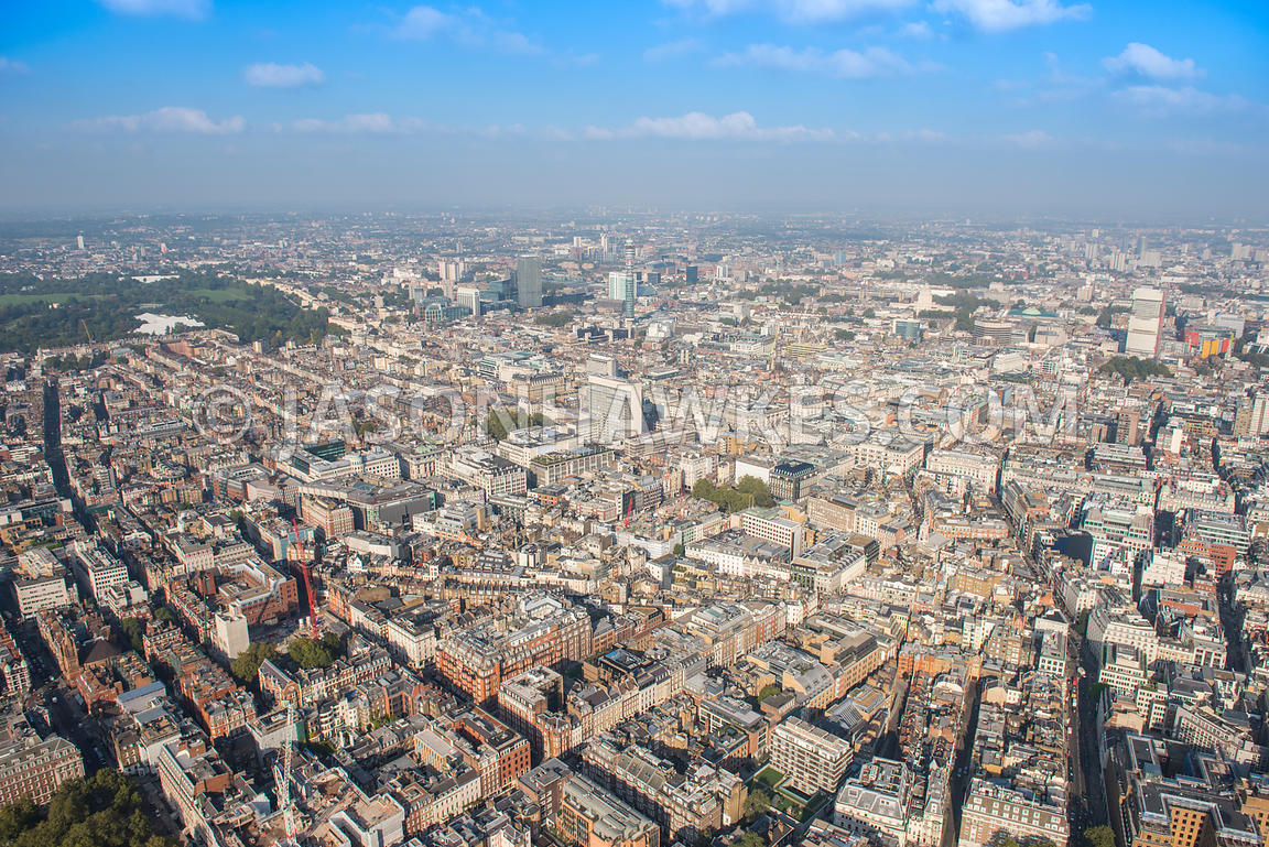 Aerial view of London, Oxford Street and Mayfair with BT Tower.