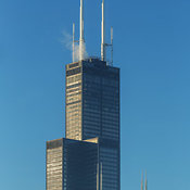 View of the top section of the Willis or Sears Tower with blue sky, Chicago, Illinois, USA
