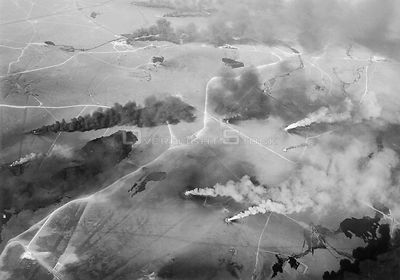 KUWAIT -- 1991 -- An aerial view of oil fires set by retreating Iraqi troops in the last days of the Persian Gulf War (late 1...