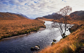 River Gruinard near the summit of An Teallach in the Scottish Highlands, Scotland, UK.