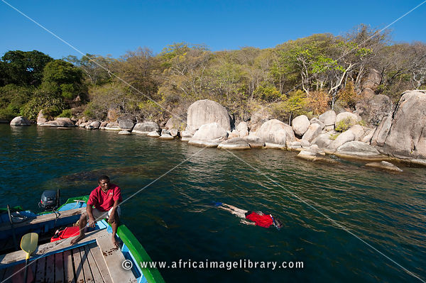 Snorkeling at Mumbo island, Lake Malawi National Park, Malawi