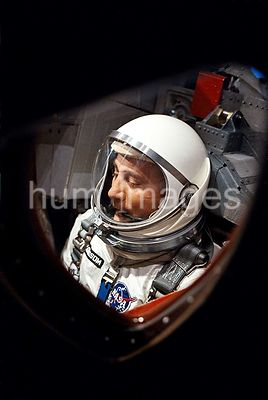 (23 March 1965) --- Astronaut Virgil I. Grissom is seen through the spacecraft window prior to launch of Gemini-Titan 3 mission