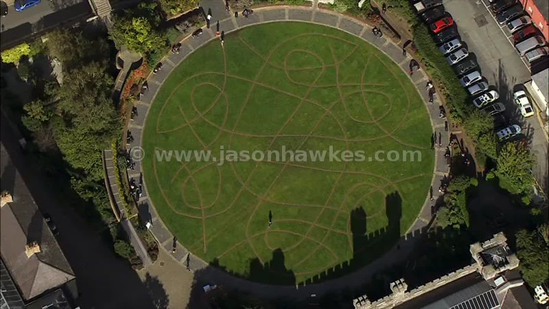 Aerial footage of the Dubh Linn Garden, Dublin, Ireland