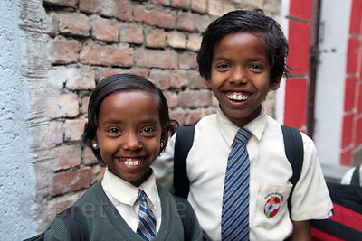 Brother and sister at a school in Varanasi, India operated by Dutch NGO Duniya (duniya.org). Taken in 2012.