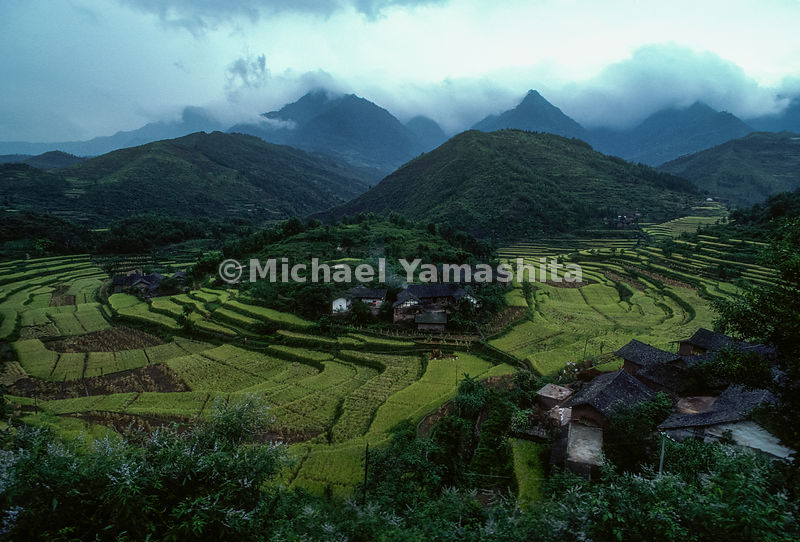 Terraced crops and hills of Ma Lin, coal mine town..Guizhou, China