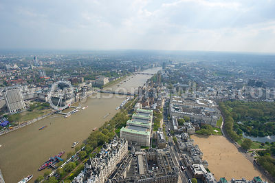 Aerial view over teh River Thames and London Eye, London