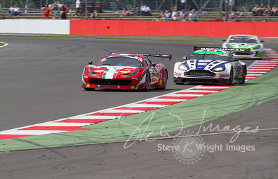 The AF Corse Ferrari 458 Italia GT3 and Beechdean Aston Martin Racing Vantage GT3 cars, in action at the Silverstone 500 - th...