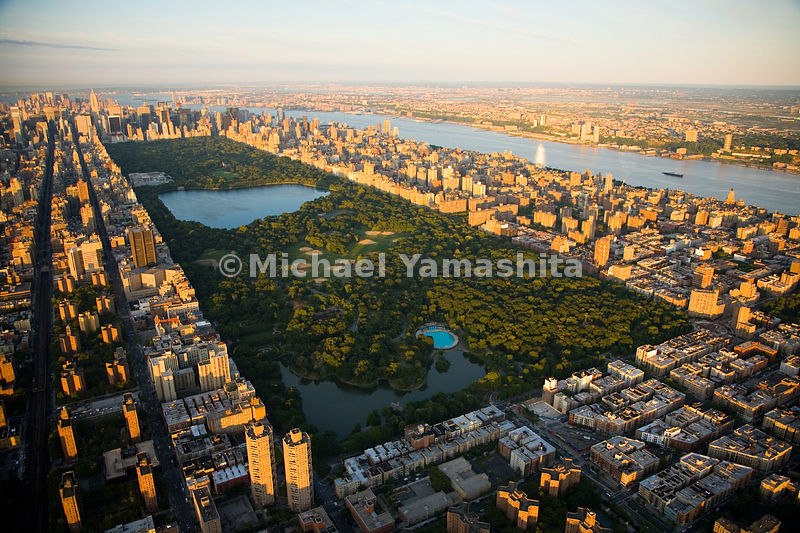 Like a giant's footprint, Central Park, 843 acres in area, makes its mark in the middle of Manhattan, New York City.