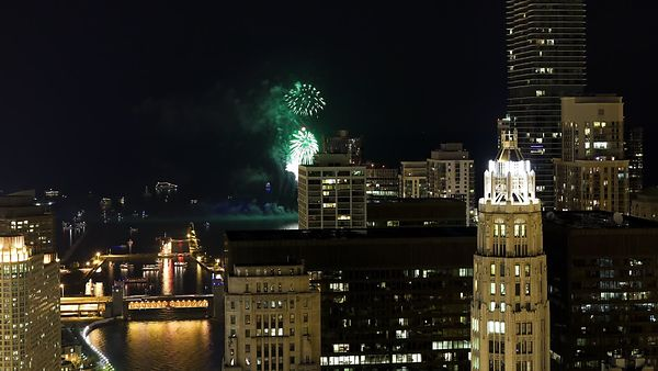 Bird's Eye: Navy Pier Fireworks, The Chicago River & An Armada Of Scattering Boats