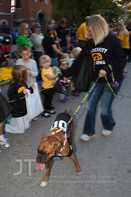Erika Goedkin and her Boxer, Bella participate  in the  University of Iowa homecoming Parade on in Iowa City on Friday Septem...