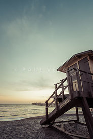 San Clemente Lifeguard Tower One Retro Photo