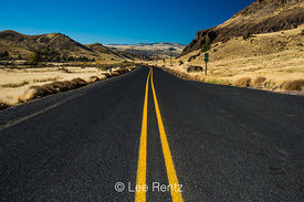Double Yellow Lines of Oregon Route 218 in the High Desert