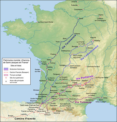 The Way of Saint James in France (map) photos
