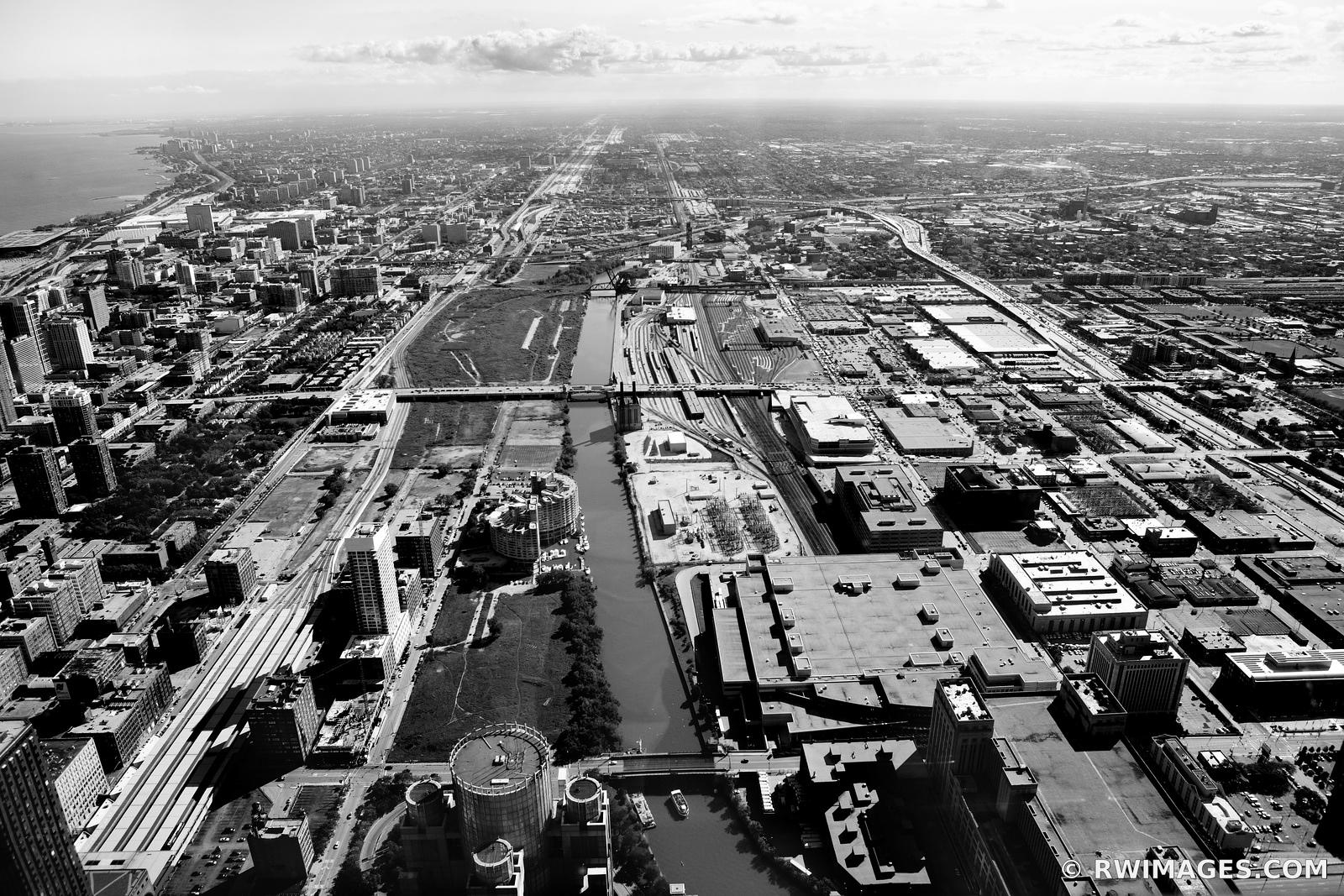 SOUTH SIDE OF THE LOOP CHICAGO ILLINOIS BLACK AND WHITE AERIAL
