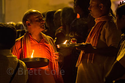 Hindus attend Ganga Aarti along the Ganges River, Dashashwamedh Ghat, Varanasi, India