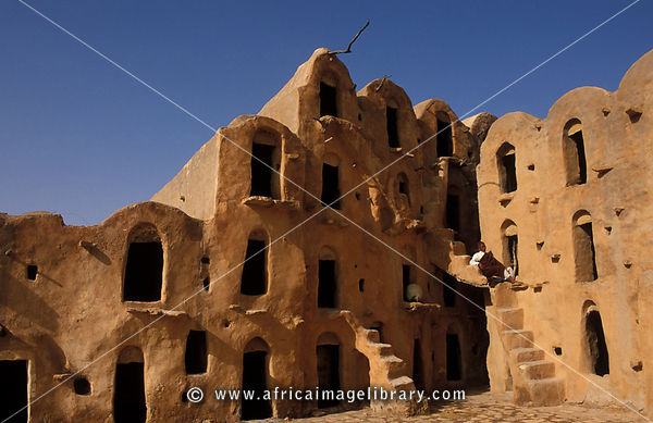 Ksar Ouled Soltane, fortified granary, ghorfas, cells used in the past to store grain, Tunisia