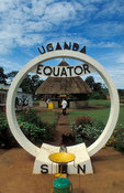 Equator sign on the Kampala-Masaka road, Uganda