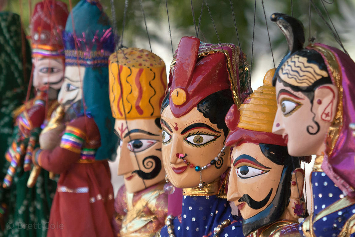 Hand-made puppets at Mehrangarh fort, Jodhpur, Rajasthan, India