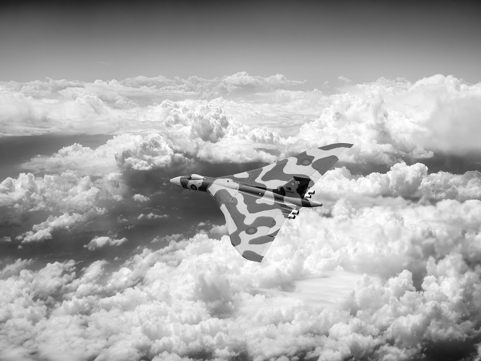 Vulcan above majestic clouds BW version