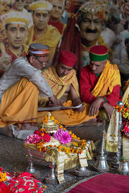 Hindu priests at Raghunath Temple during the Dussehra festival in Kullu India