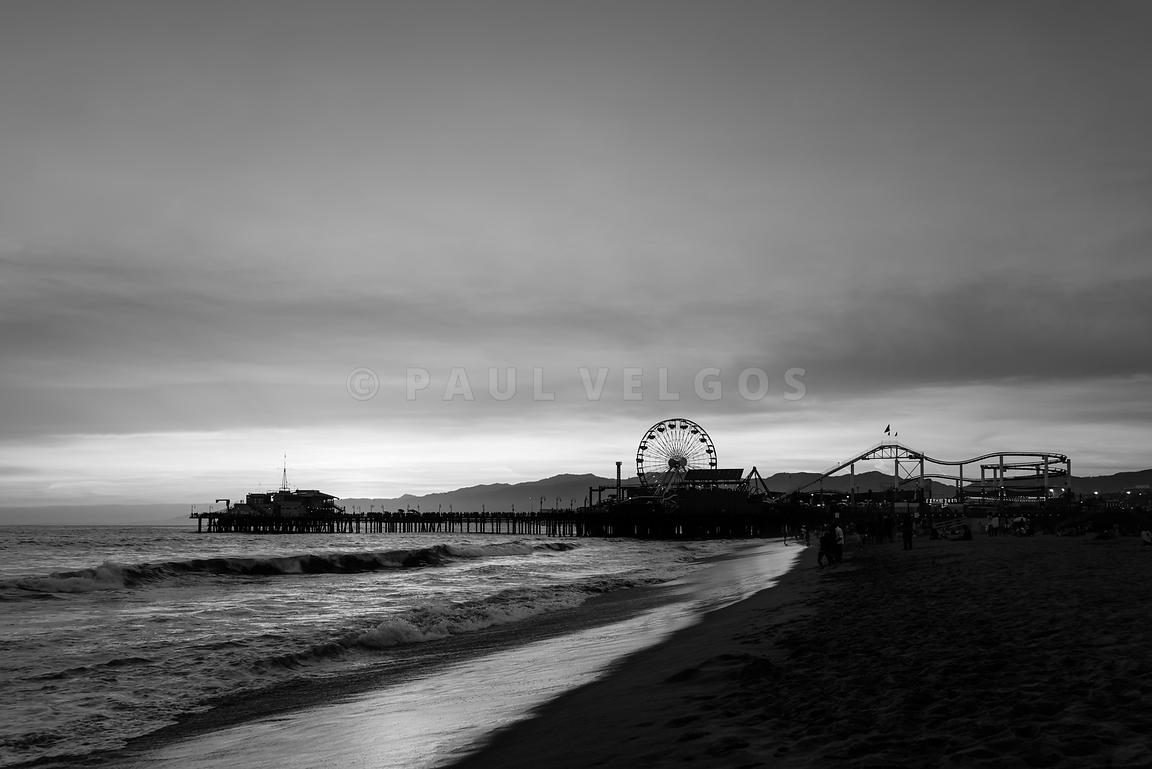 Santa Monica Pier Beach Sunset Black and White Photo
