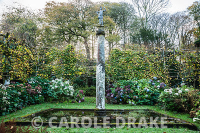 Sunken garden surrounded by pleached limes, hydrangeas and with square central pool containing column with statue on its top....
