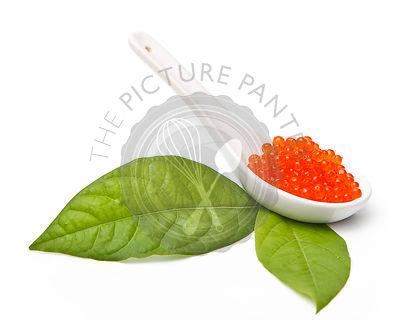 Red caviar served with leaf on white background