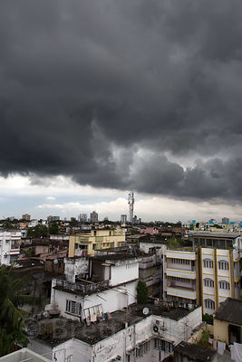 Monsoon rain clouds over the Jodhpur Park area of South Kolkata, India
