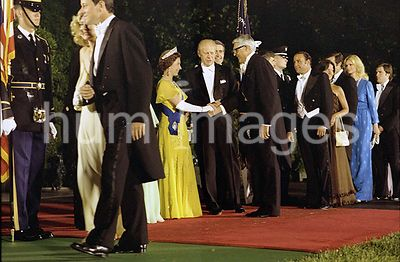 Receiving Line Prior to State Dinner in Honor of Queen Elizabeth II and Prince Philip - English-born American Actor Cary Grant