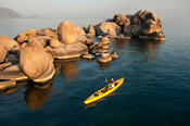 Kayaking at Mumbo island, Lake Malawi National Park, Malawi