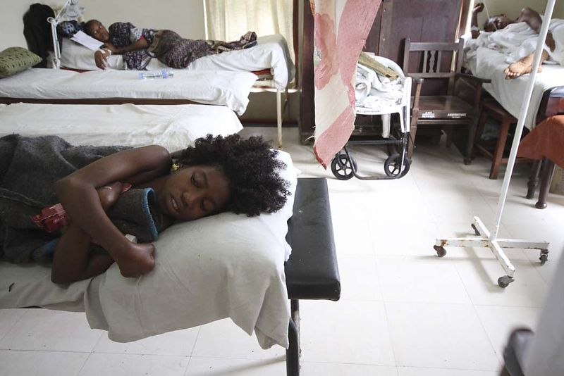 A young girl who survived the MV Spice Islander disaster lies in Mnazi Mmoja hospital, September 10, 2011. Of those on board,...
