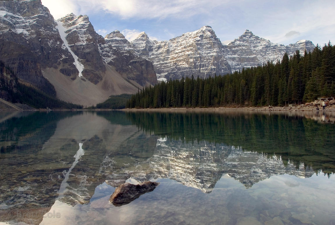 Early morning reflections in Moraine Lake, Valley of the Ten Peaks, Banff NP, Canadian Rockies.
