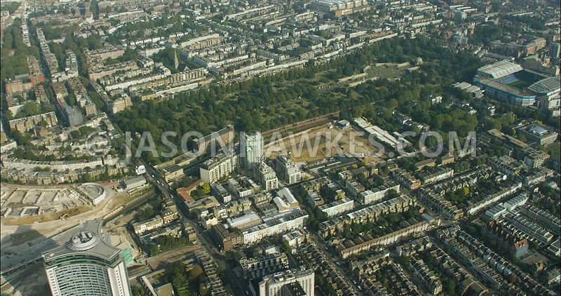 London Aerial Footage of Brompton Cemetery with Chelsea Football Ground.