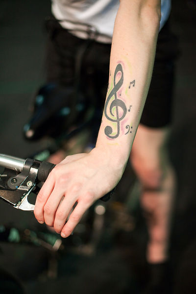 UK - Hull - A tattoo on the arm of drama student Keiron Johnson from Hull University during a rehearsal for an upcoming produ...