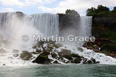 American Falls (left) & Bridal Veil Falls (right), Niagara Falls, New York, USA photographed from the Niagara River
