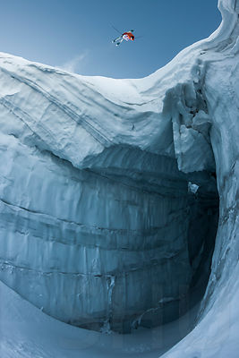 Frontflip above the crevasse with Guerlain Chicherit