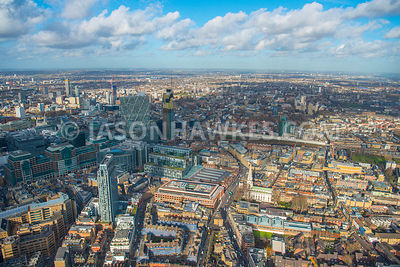 Aerial view of London, Brick Lane towards Shoreditch.