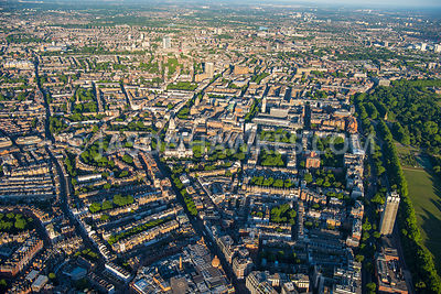 Aerial view of London, Royal Albert Hall with Natural History Museum and Victoria and Albert Museum from Knightsbridge.