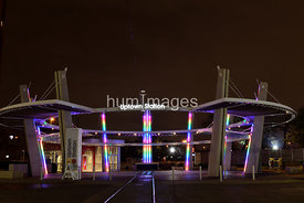 DART light rail station in Uptown area of Dallas, Texas (night, uptown station)