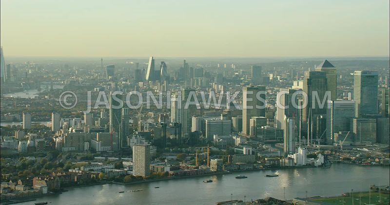 London Aerial Footage of Canary Wharf and River Thames.