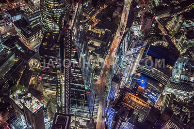"3845. Night aerial view over the 737 ft tall Leadenhall Building, known as the ""The Cheesegrater"" and designed by Rogers Stir..."