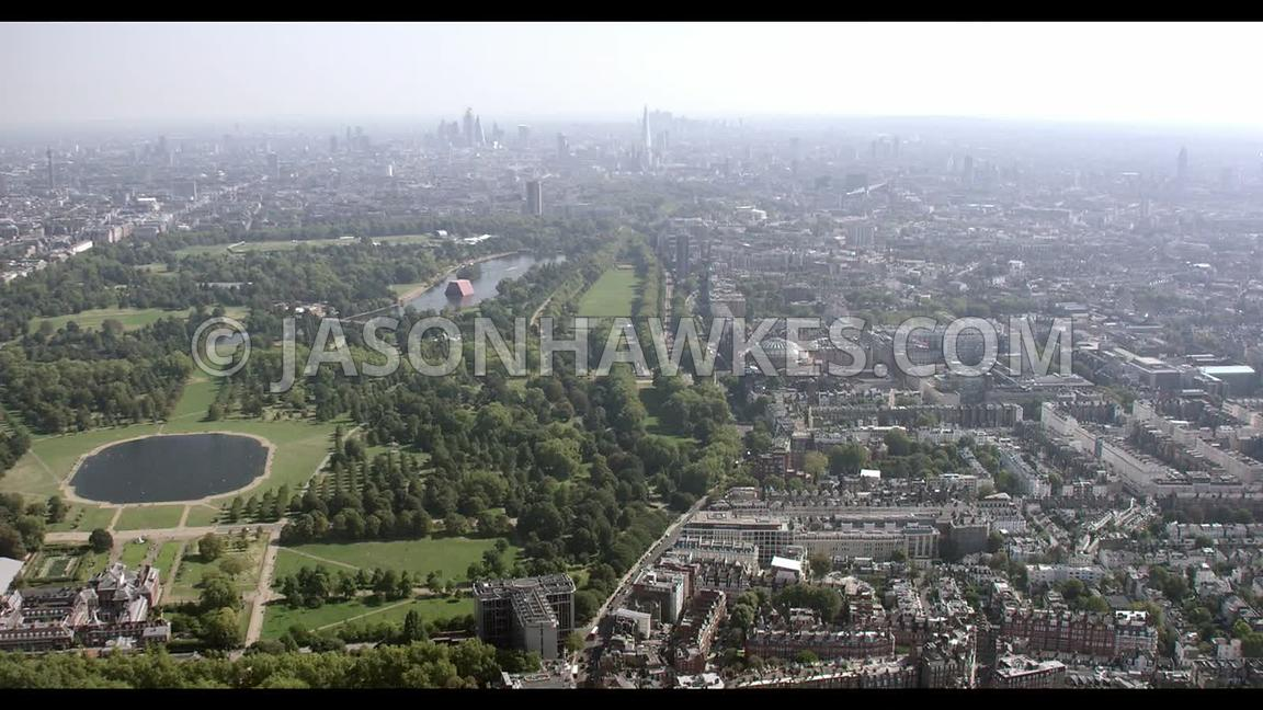 Aerial footage of Kensington Palace, Kensington Gardens, Kensington and the Albert Hall, London.