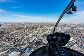 View of Calgary City Center from Helicopter