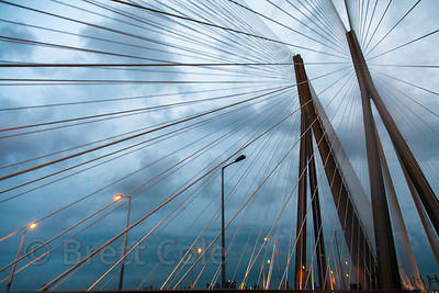 Skyward view of the Bandra-Worli Sealink bridge in Mumbai, India.