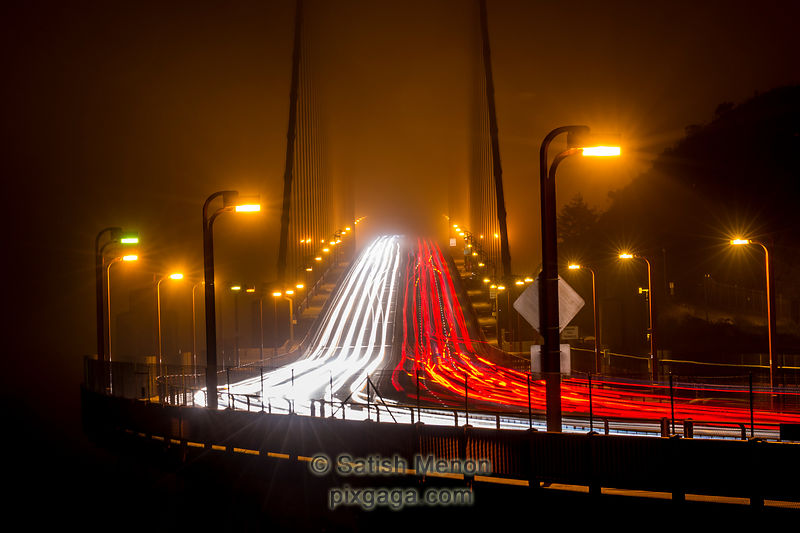 Night traffic on Golden Gate Bridge, San Francisco, CA, USA